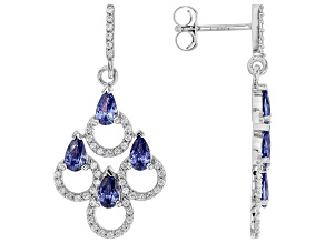 Blue And White Cubic Zirconia Rhodium Over Sterling Silver Earrings 3.28ctw