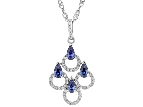 Blue And White Cubic Zirconia Rhodium Over Sterling Silver Pendant With Chain 1.66ctw