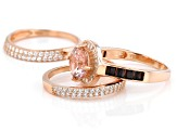 Pink, Mocha, And White Cubic Zirconia 18K Rose Gold Over Sterling Silver Ring With Bands 4.27ctw