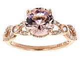 Pink Morganite Simulant And White Cubic Zirconia 18K Rose Gold Over Sterling Silver Ring 4.14ctw