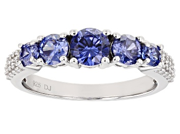 Picture of Blue And White Cubic Zirconia Rhodium Over Sterling Silver Ring 2.30ctw