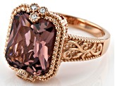 Pink And White Cubic Zirconia 18K Rose Gold Over Sterling Silver Ring 5.82ctw