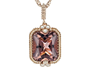 Pink And White Cubic Zirconia 18K Rose Gold Over Sterling Silver Pendant With Chain 5.82ctw