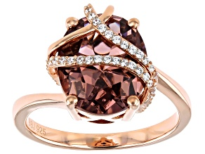 Pink And White Cubic Zirconia 18K Rose Gold Over Sterling Silver Ring 5.10ctw