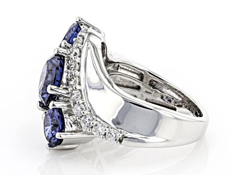 Blue And White Cubic Zirconia Rhodium Over Sterling Silver Ring 7.15ctw