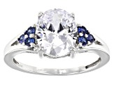 White And Blue Cubic Zirconia Rhodium Over Sterling Silver Ring 4.48ctw