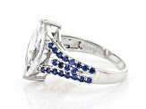 White And Blue Cubic Zirconia Rhodium Over Sterling Silver Ring 5.27ctw