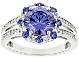 Blue And White Cubic Zirconia Rhodium Over Sterling Silver Ring 3.96ctw