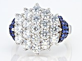 Blue And White Cubic Zirconia Rhodium Over Sterling Silver Ring 4.90ctw