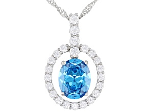 Blue And White Cubic Zirconia Rhodium Over Sterling Silver Pendant With Chain 7.06ctw