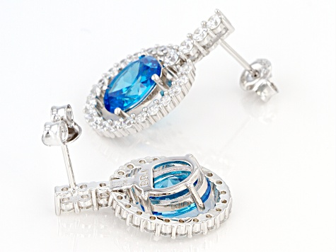Blue And White Cubic Zirconia Rhodium Over Sterling Silver Earrings 9.61ctw