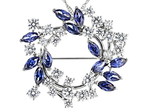 Blue And White Cubic Zirconia Rhodium Over Sterling Silver Brooch 15.29ctw