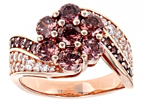 Blush And White Cubic Zirconia 18K Rose Gold Over Sterling Silver Ring 4.97ctw