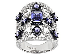 Lab Created Sapphire, Blue And White Cubic Zirconia Rhodium Over Sterling Ring 7.12ctw