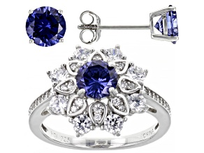 Blue And White Cubic Zirconia Rhodium Over Sterling Silver Jewelry Set 5.84ctw