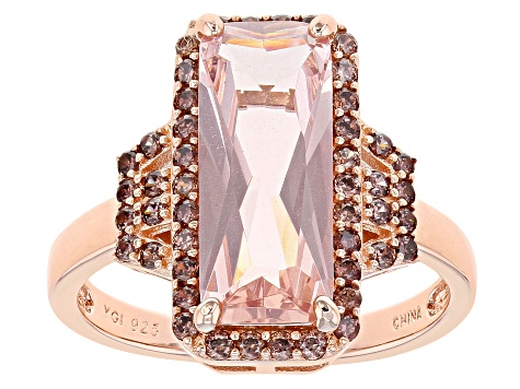 Pink Morganite Simulant And Mocha Cubic Zirconia 18K Rose Gold Over Sterling Silver Ring 3.17ctw