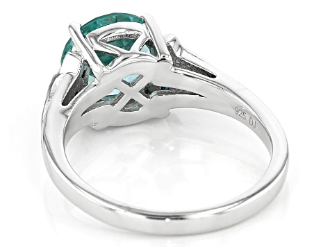 Green And Blue Cubic Zirconia Rhodium Over Sterling Silver Ring 2.84ctw
