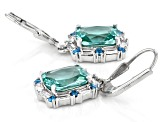 Blue, Green, And White Cubic Zirconia Rhodium Over Sterling Silver Earrings 7.93ctw