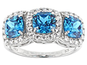Blue And White Cubic Zirconia Rhodium Over Sterling Silver Ring 6.13ctw