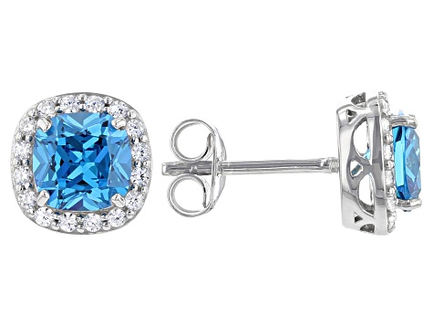 Blue And White Cubic Zirconia Rhodium Over Sterling Silver Earrings 3.83ctw