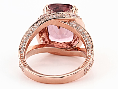 Blush Zircon Simulant And White Cubic Zirconia 18K Rose Gold Over Sterling Silver Ring 7.88ctw