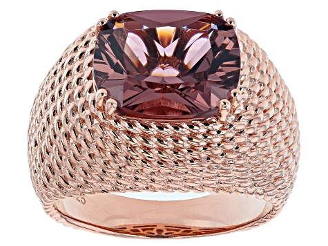 Blush Zircon Simulant 18K Rose Gold Over Sterling Silver Ring 5.10ctw