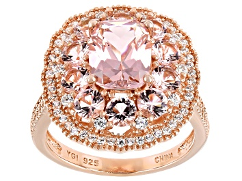 Picture of Pink Morganite Simulant And White Cubic Zirconia 18K Rose Gold Over Sterling Silver Ring 3.60ctw