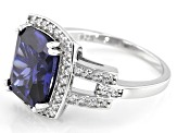 Blue and White Cubic Zirconia Rhodium Over Sterling Silver Ring 7.70ctw