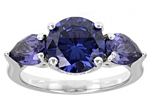Blue Cubic Zirconia Rhodium Over Sterling Silver Ring 6.80ctw