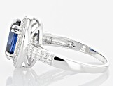 Blue and White Cubic Zirconia Rhodium Over Sterling Silver Ring 6.12ctw