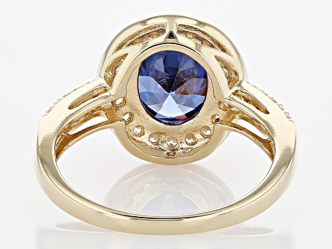 Blue and White Cubic Zirconia 18k Yellow Gold Over Sterling Silver Ring 6.12ctw