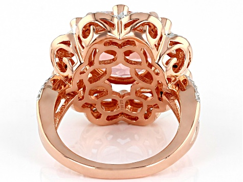 Pink Morganite Simulant And White Cubic Zirconia 18K Rose Gold Over Sterling Silver Ring 10.61ctw