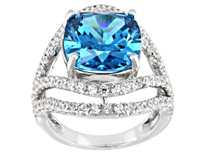 Blue And White Cubic Zirconia Platinum Over Silver Ring 16.70ctw