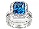 Blue And White Cubic Zirconia Rhodium Over Sterling Silver Ring With Guard 11.57ctw