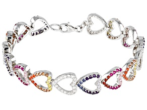 Lab Created Ruby And Multi Color Cubic Zirconia Rhodium Over Silver Heart Bracelet 7.25ctw