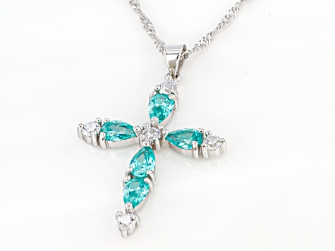 Green And White Cubic Zirconia Rhodium Over Sterling Silver Cross Pendant With Chain 4.62ctw