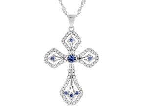 Blue And White Cubic Zirconia Rhodium Over Sterling Silver Cross Pendant With Chain 1.64ctw