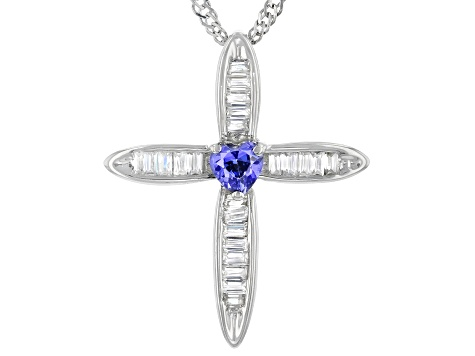 Blue And White Cubic Zirconia Rhodium Over Sterling Silver Cross Pendant With Chain 0.96ctw