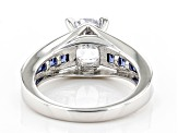 White And Blue Cubic Zirconia Rhodium Over Sterling Silver Ring 3.95ctw