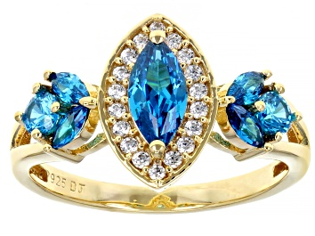 Picture of Blue And White Cubic Zirconia 18K Yellow Gold Over Sterling Silver Ring 1.90ctw