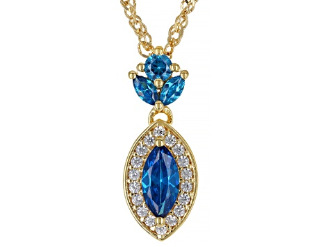 Blue And White Cubic Zirconia 18K Yellow Gold Over Sterling Silver Pendant With Chain 1.35ctw