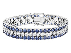 Blue And White Cubic Zirconia Rhodium Over Sterling Silver Tennis Bracelet 62.54ctw