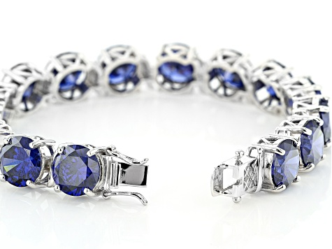 Blue Cubic Zirconia Rhodium Over Sterling Silver Tennis Bracelet 94.70ctw