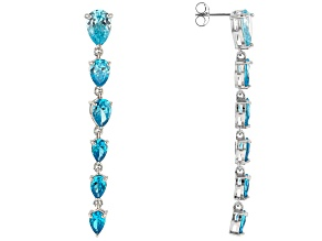Blue Cubic Zirconia Rhodium Over Sterling Silver Earrings 11.95ctw