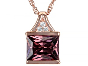 Blush And White Cubic Zirconia 18K Rose Gold Over Sterling Silver Pendant With Chain 3.75ctw