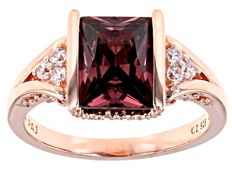 Blush And White Cubic Zirconia 18K Rose Gold Over Sterling Silver Ring 4.13ctw