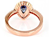 Blue And White Cubic Zirconia 18K Rose Gold Over Sterling Silver Ring 2.24ctw