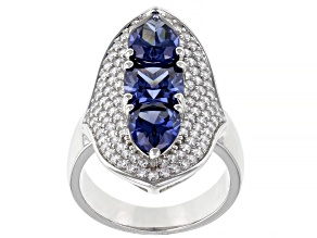 Blue And White Cubic Zirconia Platinum Over Sterling Silver Ring 8.43ctw