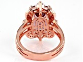 Blush Zircon Simulant And White Cubic Zirconia 18K Rose Gold Over Sterling Silver Ring 9.05ctw