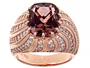 Blush Zircon Simulant And White Cubic Zirconia 18K Rose Gold Over Sterling Silver Ring 8.42ctw